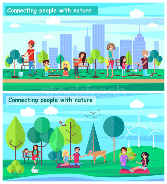 Connecting People with Nature Set Posters Vector Stock photo © robuart