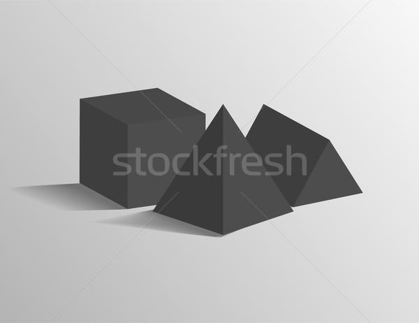 Square Pyramid, Tetrahedron, Cube Geometric Shapes Stock photo © robuart
