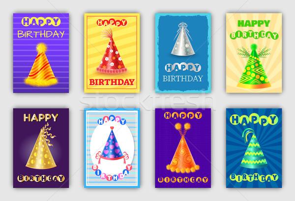 Mágikus boldog születésnapot kártyák kúp forma sapkák Stock fotó © robuart