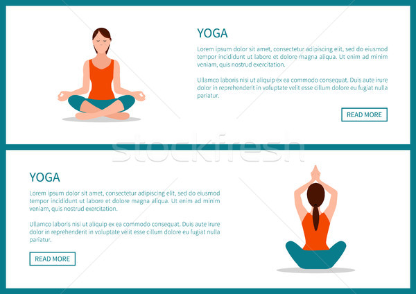 Yoga Workout, Sporty Woman in Lotos Pose Stock photo © robuart