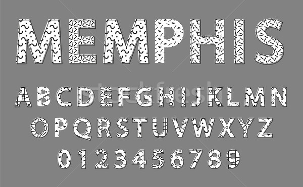 Memphis Alphabet and Numbers Vector Illustration Stock photo © robuart
