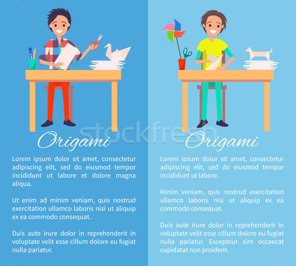 Origami Artists Color Banner, Vector Illustration Stock photo © robuart