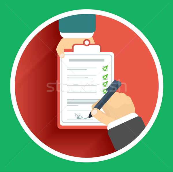 Flat design delivery signature and two hand Stock photo © robuart