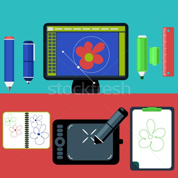 Program terv építészet számítógépmonitor képernyő modern Stock fotó © robuart