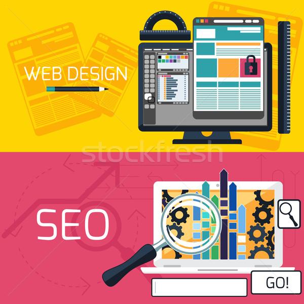ストックフォト: Seo · 最適化 · Webデザイン · バナー · プログラミング · プロセス