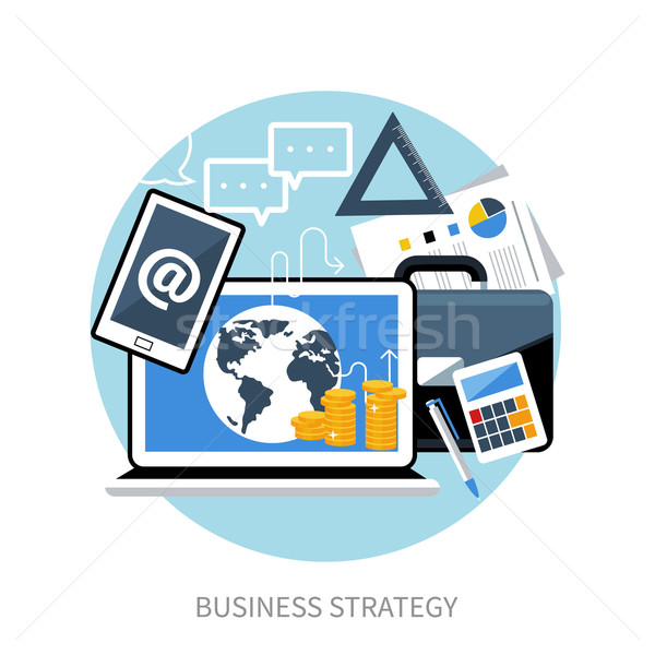 Concept of workplace with laptop and briefcase Stock photo © robuart