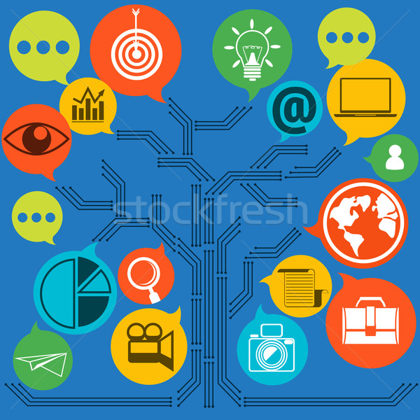 Scheme of web contact and business newsletter Stock photo © robuart
