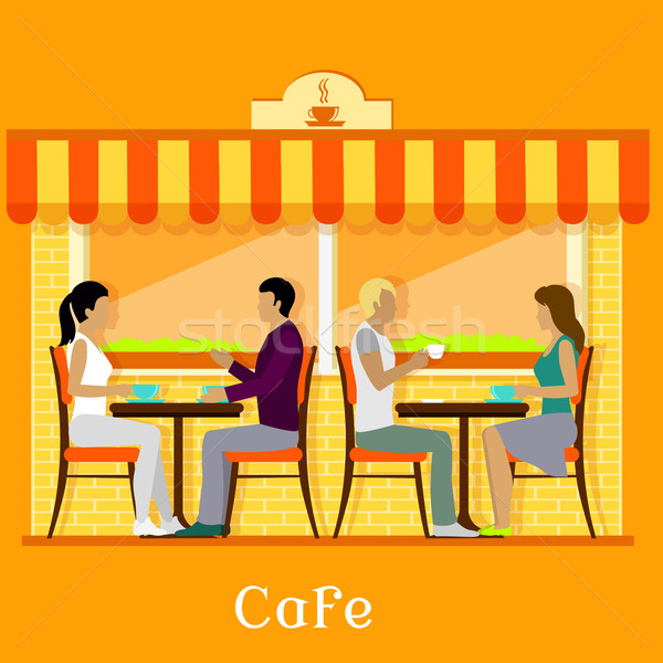 Facade Urban Cafe with Customers Stock photo © robuart