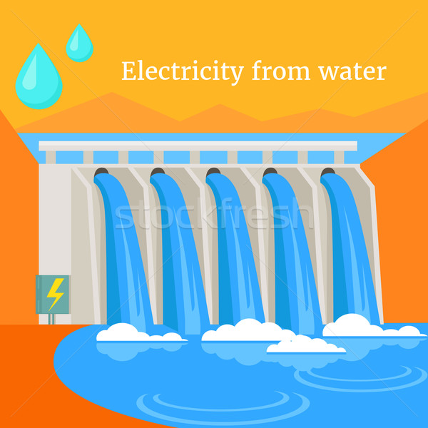 Electricity From Water Design Flat Stock photo © robuart