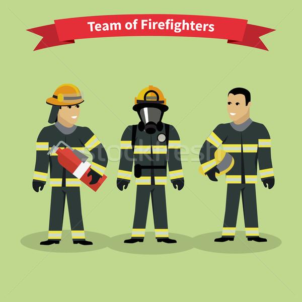 Brandweerlieden team mensen groep stijl brandweerman Stockfoto © robuart