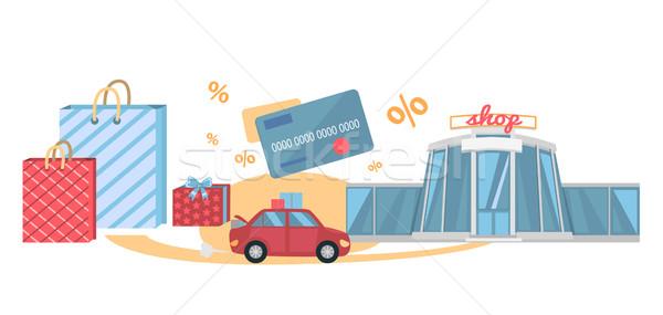 Compras gira mejor coche bolsa de la compra Foto stock © robuart