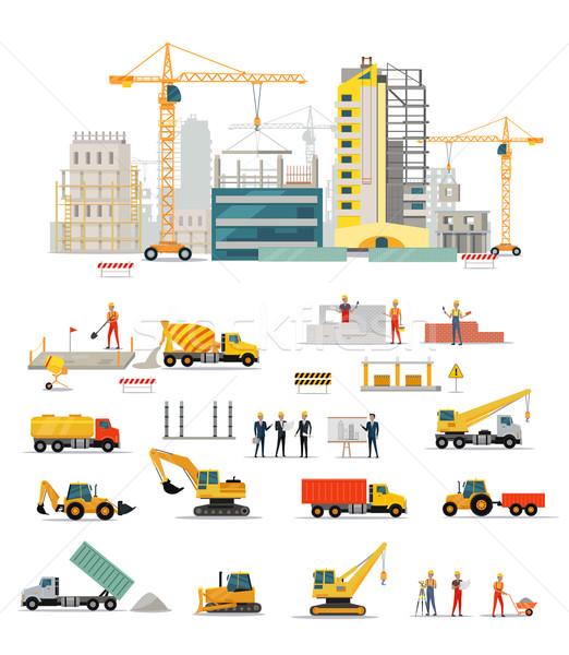 Proceso construcción residencial casas aislado grande Foto stock © robuart