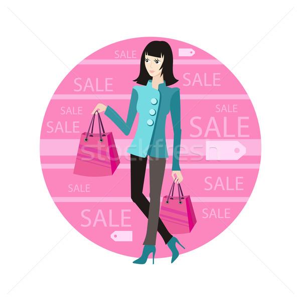 Ikon vásár nő vétel fiatal lány bevásárlótáskák Stock fotó © robuart
