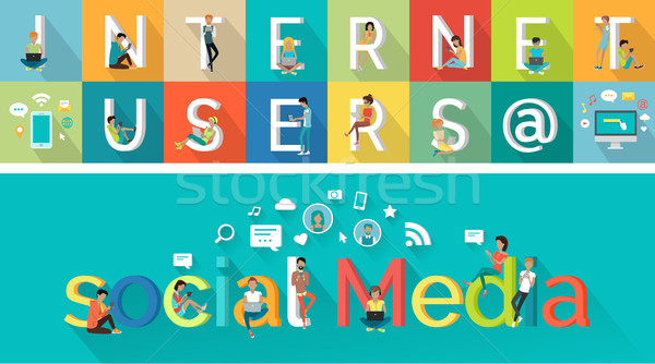 Social Media Vector Concept in Flat Style Design. Stock photo © robuart