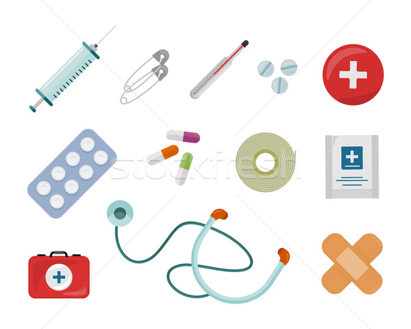 Set of Medical Supplies Vectors in Flat Design   Stock photo © robuart
