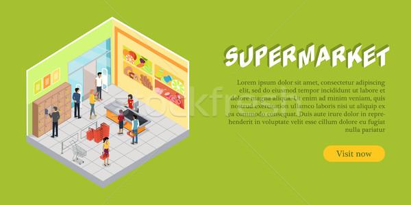 Supermarket Interior in Isometric web Banner Stock photo © robuart