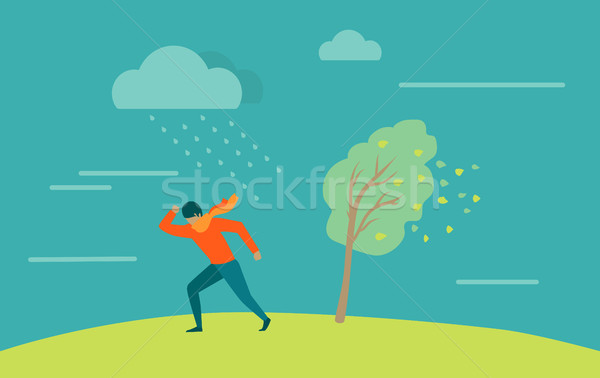 Strong Wind and Rainstorm. Heavy Shower, Downpour Stock photo © robuart