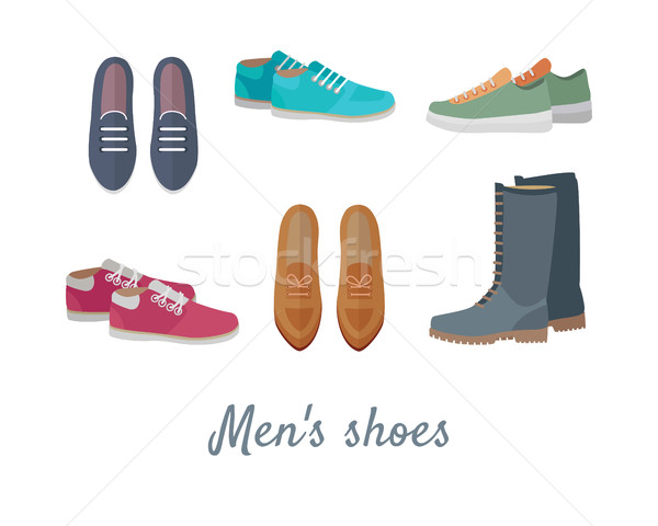 Férfiak cipők elegáns férfi vektor csizma Stock fotó © robuart
