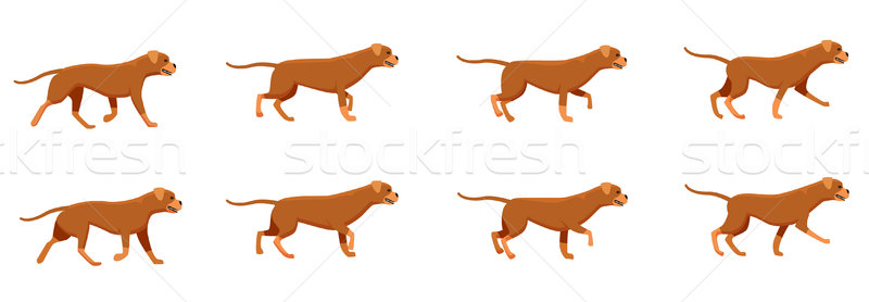 Red Dog Set. Icons with Fast Running Animals. Stock photo © robuart