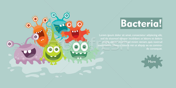 Bacteria Flat Cartoon Vector Web Banner Stock photo © robuart