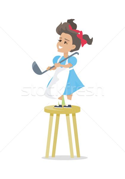 Dziewczynka zupa chochla stoją kuchnia stołek Zdjęcia stock © robuart
