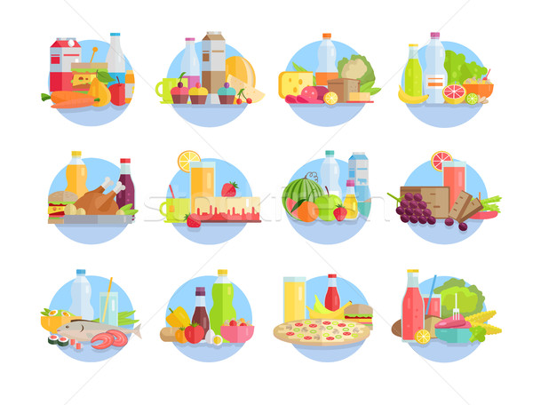 Food and Products Collections in Circles on White Stock photo © robuart