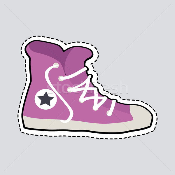 Stock photo: Violet Sport Footwear Patch Shoes with Dashed Line