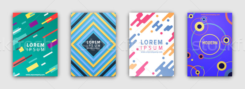Four Colorful Covers Collection in Flat Design Stock photo © robuart