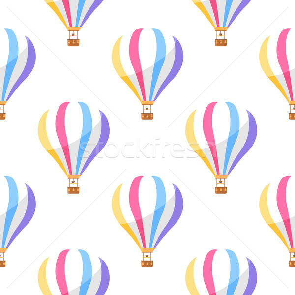 Airballoon with Colorful Stripes Seamless Pattern Stock photo © robuart