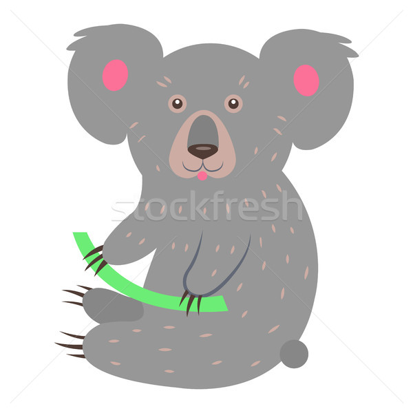 Cute Koala Cartoon Flat Vector Sticker or Icon Stock photo © robuart