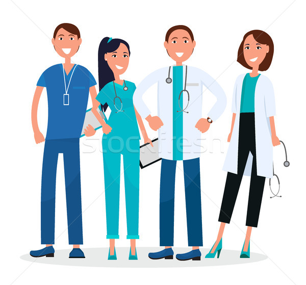 Four Medical Workers Standing and Smiling Graphic Stock photo © robuart