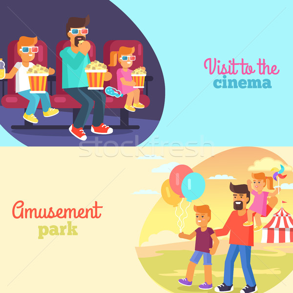 Visit to Cinema and Park with Father Poster Vector Stock photo © robuart