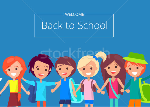 Welcome Back to School Banner with Kids Vector Stock photo © robuart