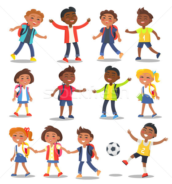 Cheerful School Children Isolated Illustrations Stock photo © robuart