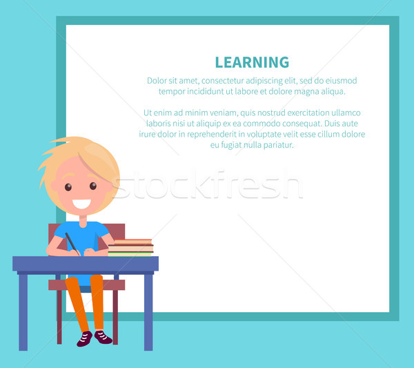Learning Banner with Blonde Boy with Textbook Stock photo © robuart