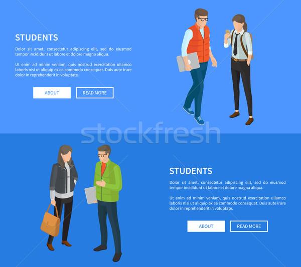 Photo stock: élèves · cartoon · affiches · vecteur