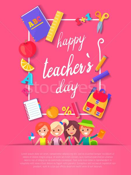 Happy Teacher s Day Postcard Vector Illustration Stock photo © robuart