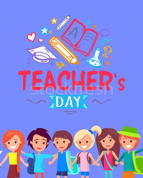 Teachers Day Blue Placard Vector Illustration Stock photo © robuart