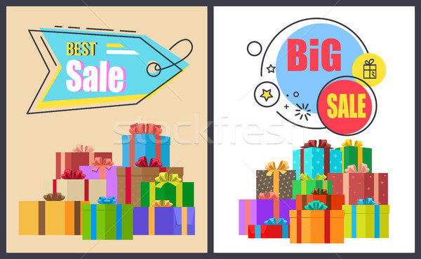 Best Big Sale Advert Labels on Banners with Boxes Stock photo © robuart
