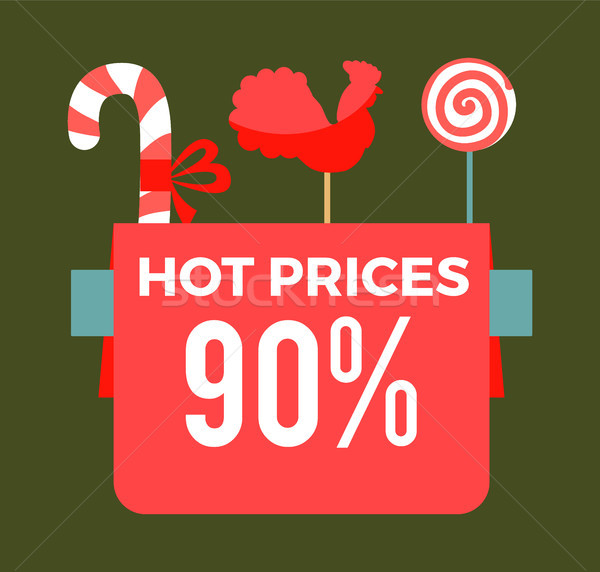 Hot prices 90 final sale poster with sweet candy sticks Stock photo © robuart