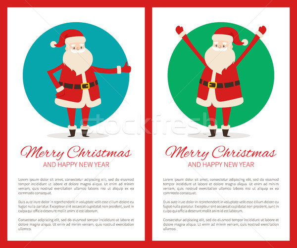 Merry Christmas Happy New Year Poster with Santa Stock photo © robuart