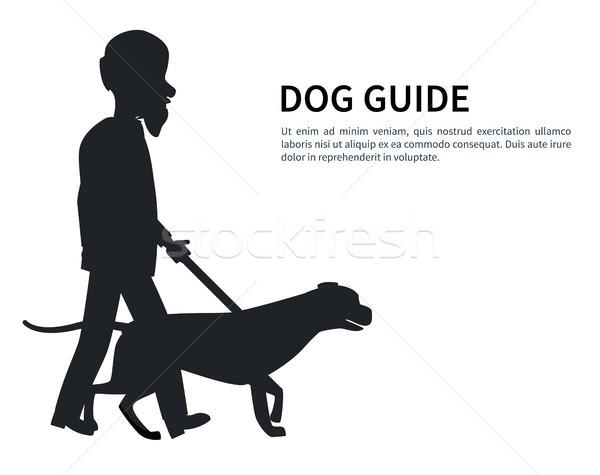 犬 ガイド シルエット 歳の男性 ペット ストックフォト © robuart