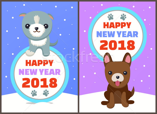 Feliz año nuevo perros establecer carteles símbolos tiempo Foto stock © robuart