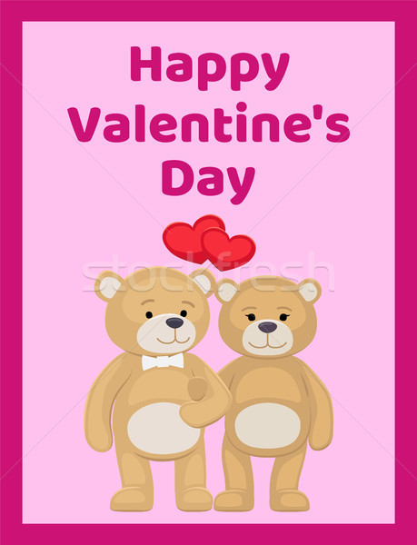 Happy Valentines Day Poster Bear Animals Family Stock photo © robuart