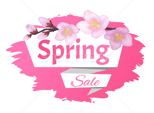 Spring Sale Advertisement Label Branch of Sakura Stock photo © robuart