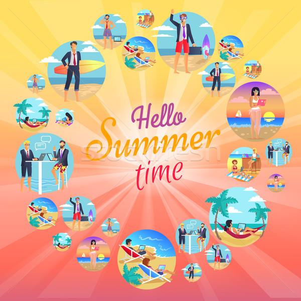Hallo zomer tijd ingesteld cirkels Stockfoto © robuart