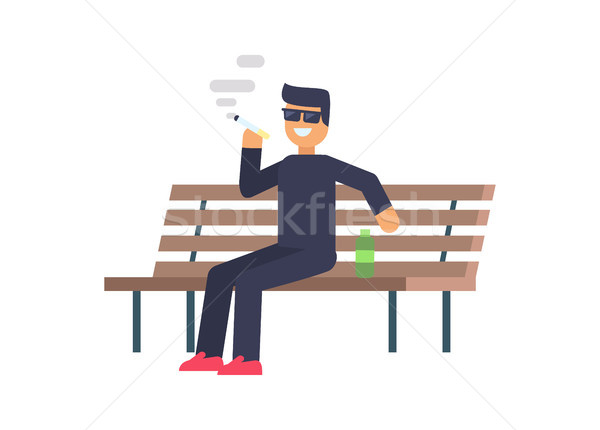 Cheerful Smoking Man Colorful Vector Illustration Stock photo © robuart