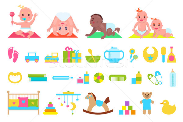 Playful Children and Toys Set Vector Illustration Stock photo © robuart