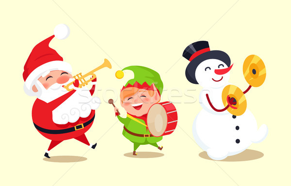 Santa Claus with Elf and Snowman Playing Music Stock photo © robuart