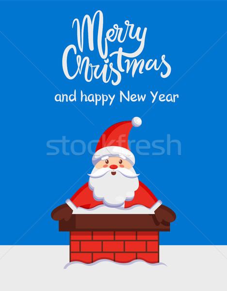 Vidám karácsony mikulás kémény vektor szöveg Stock fotó © robuart